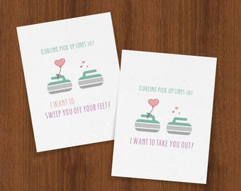 Pick up line etsy curling pick up lines 101 valentines day card for your favorite curlers urtaz Images