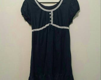 70s navy blue babydoll mini dress