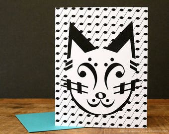 Music note greeting card / CAT music note card / Music gift / Music card / Music teacher gift / Music thank you card / Band teacher gift