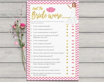 And the Bride Wore, Bridal Shower Game, Confused Bride, Pink Chevron, Gold Hearts, Pink Lips, Instant Download, Couples Shower