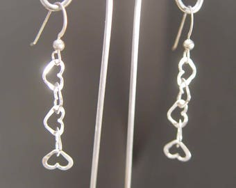 Heart SHAPE DANGLES Sterling Silver Earrings Multiple Heart in Heart Design