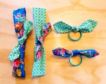 JASKA Fabric Headband / Hair Elastic with 2 Interchangeable knot hair bows, girls hair accessories, womens hair accessories