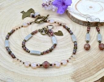 Anniversary gifts ideas wife, bohemian jewelry set her, bohemian bridal jewelry set, statement gift for women, jewelry gift for boho bride