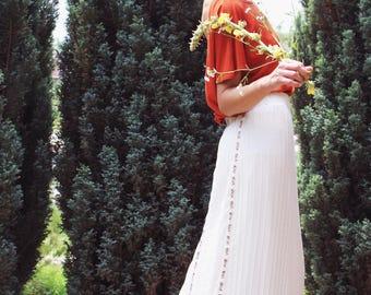 Long Skirt; Maxi Skirt; Light Boho Skirt; Wedding  Skirt; Pleated Skirt; Handmade Skirt; High Low Skirt;Romantic Look