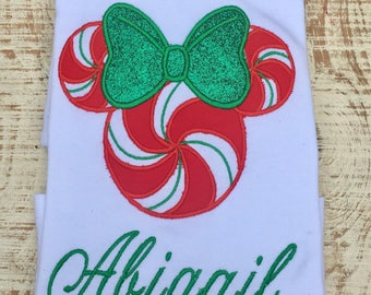 Mouse Christmas Shirt- Personalized Mouse Shirt - Christmas Shirt - Peppermint Mouse Shirt
