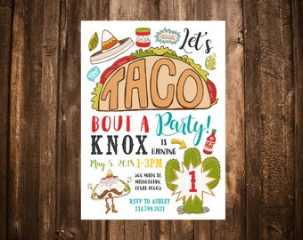 Taco 'Bout A Party Birthday Invitation; Cinco De Mayo; Fiesta; Printable or set of 10