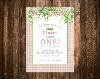 Sweet Pea Birthday Invitation; Wildflower; Pink Gingham; Printable or set of 10