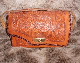 Vintage Mexican Reversible Tooled Leather Shoulder Bag/A Gatton Purse