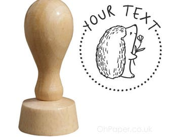 HEDGEHOG - Personalised Rubber Stamp - your text - Tags  Favours stamp - Invitations Stamp  - Thank you - personalized / custom / bespoke