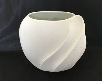 Kaiser White Bisque Large Vase by M. Frey with Swirling decor.