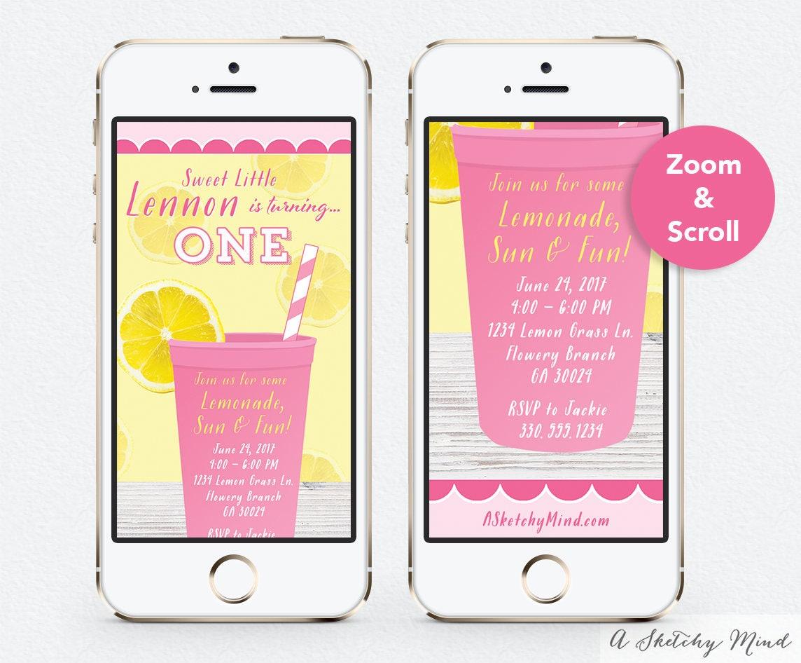 Text message invitation pink lemonade party birthday invitation text message invitation pink lemonade party birthday invitation digital invite email invitation stopboris Choice Image