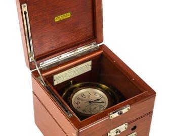 Hamilton Model 22 Mounted Chronometer w/Original Mahogany Box -WW2