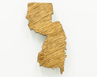 New Jersey Wooden Magnet - NJ State Magnet - Wooden New Jersey Carved Magnet - Wooden NJ Charm