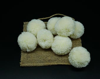 XXL Size of Cream Colored Cotton Handmade pom poms,Hmong Tribe pompoms XXL size diameter 55-60 mm,home decoration, accessories , 8 pcs.
