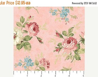 Summer Sale- Vintage Rose~Small Bouquet on Pink~Cotton Fabric,~Northcott~Fast Shipping F965