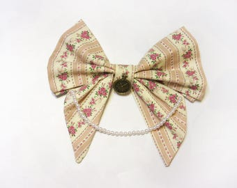 Big Quaint Floral Cotton Bow with Clock Charm