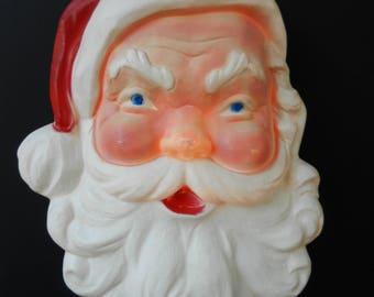 Large Lighted Santa Blow Mold, Union Products, Santa Face, Santa Head, Holiday Decor, Outdoor Christmas Decoration, Kitschmas