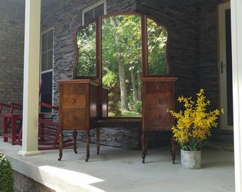AVAILABLE HUGE Antique Vanity, Dressing Table, Secretary, Writing Desk, Makeup Table, with Mirror