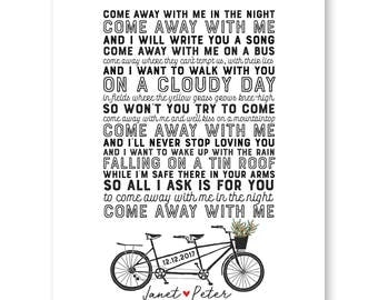Wedding Song Lyrics Print, Anniversary Gift, Wedding Lyrics, Wedding Gift,Song Lyric Art,First Dance Song,Bicycle Wedding,First Dance Lyrics