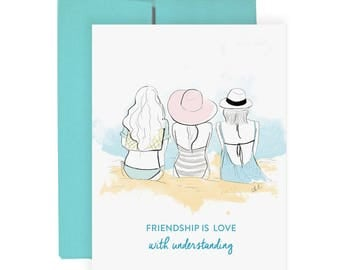 Friendship Love - Greeting Card, Fashion Illustration, Birthday Card, Just Because Card, Friends Card, Art Card