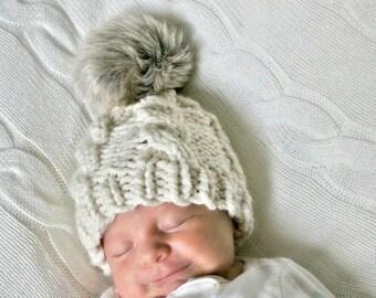 Baby Knit Beanie, Kid's Knit Beanie, Chunky Knit Beanie, Infant Knit Beanie, Baby Winter Hat, Faux Fur Pom Pom, Knit Cable Hat, Baby Shower