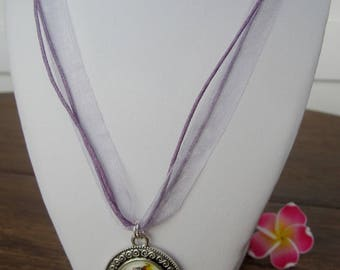 Lilac organza necklace with butterfly charm - 28 cm