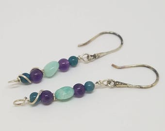 Amethyst, Amazonite, Apatite earrrings, wire wrapped handmade earrings