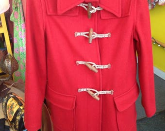 Red Wool Duffer Duffle Coat toggles