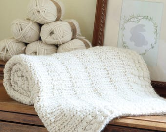 Baby Blanket Crochet Pattern New Baby Afghan Boy Blanket Pattern Baby Girl Blanket by Hidden Meadow Crochet - Ivory Dawn P126