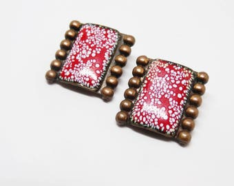 1950s Matisse Red Enameled Copper Clip On Earrings
