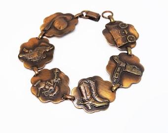 1950s Western Themed Copper Link Bracelet Novelty Cowboy Rodeo Gun Holster Western Copper Bracelet