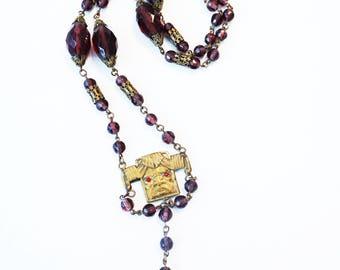 1920s Purple Amethyst Czech Glass Bead God of Wind Long Pendant Tassel Necklace