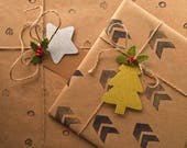 Gift tags with glitter for Christmas