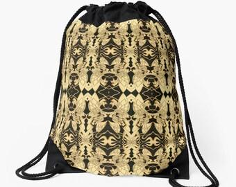 Drawstring Shoulder Bag - Backpack w/Unique Solar Etched Design ~ 'Dreamer' / Sophisticated, Classy, Unique — Solar Art ~ Solar Pyrography