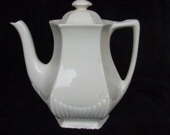 Vintage Adams Ironstone White Coffee Pot , Farmhouse Decor, Empress Pattern Coffeepot , Old English Stoneware
