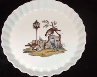 Vintage Lourioux Quiche or Pie Plate in Le Faune Pattern ,  MMA 9.5 Inch French Ceramic Tart Plate , Aesthetic Style  Bakeware with Birds