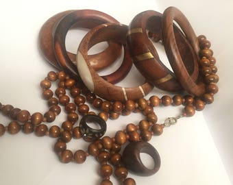 Vintage Hand Carved Wooden Jewellery, Wood Bangles, Carved Ring, Beaded Necklace