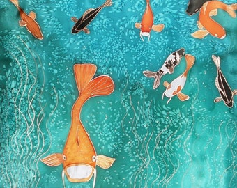 "Hand Painted Hand Dyed Silk Wall Hanging, Banner 42"" x 50"" - KOI, Housewarming, Birthday"
