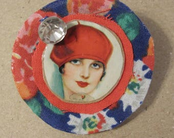 Vintage Girl With Red Hat Stunning Fabric Pin/Broach Embellished