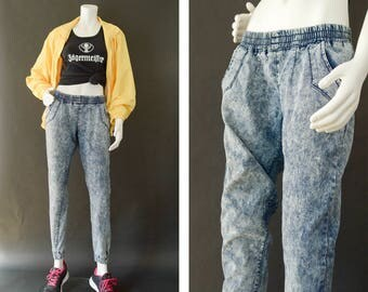 Vintage Distressed Denim Jeans, 80s Acid Washed Denim, Elastic Denim Jogger Pants, 90s Denim Leggings, Streetwear Fashion, Vintage Mom Jeans