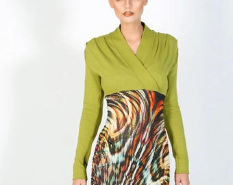 Stylish knitted dress, ethnic nature green brown bright color