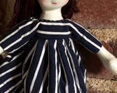 French style, 12 inch handmade doll with beret.