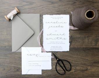 Rustic Cotton Rag Wedding Invitation, Simple & Elegant