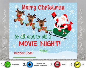 Redbox Code gift card Digital Printable - Code Not included** Merry Christmas to all and to all a Movie Night  REDBOX Code Movie Gifts