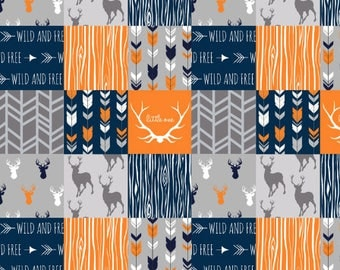 PERSONALIZED orange Woodland Baby Blanket orange navy gray Minky blanket deer, antlers arrows blanket boy blanket, birth gift blanket
