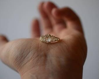 Raw Diamond Engagement Ring, Rough Diamond Ring, Uncut Diamond Ring, Anniversary Ring, Sterling Silver Engagement Ring, Size 7, Avello