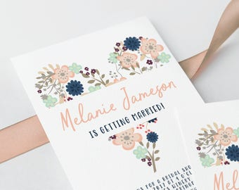 Bridal Shower Invitation Floral Heart Print Yourself Digital OR Printed Invite