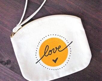 Medium Pouch Love Cotton - Wedding - Bridesmaid Gift