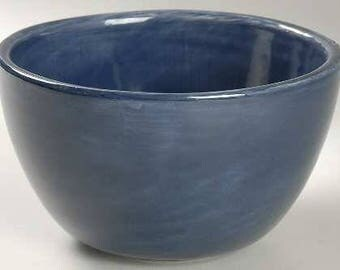 """Pottery Barn Hand Painted 6"""" Dark Blue Swirl Like Design Coup Cereal Bowl Stonemite"""