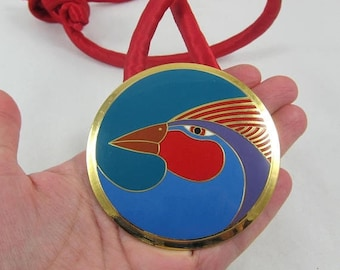 """Valentines Day Sale Large Signed Laurel Burch """"Harlequin Bird"""" Gold Tone Round Pendant- as it is"""